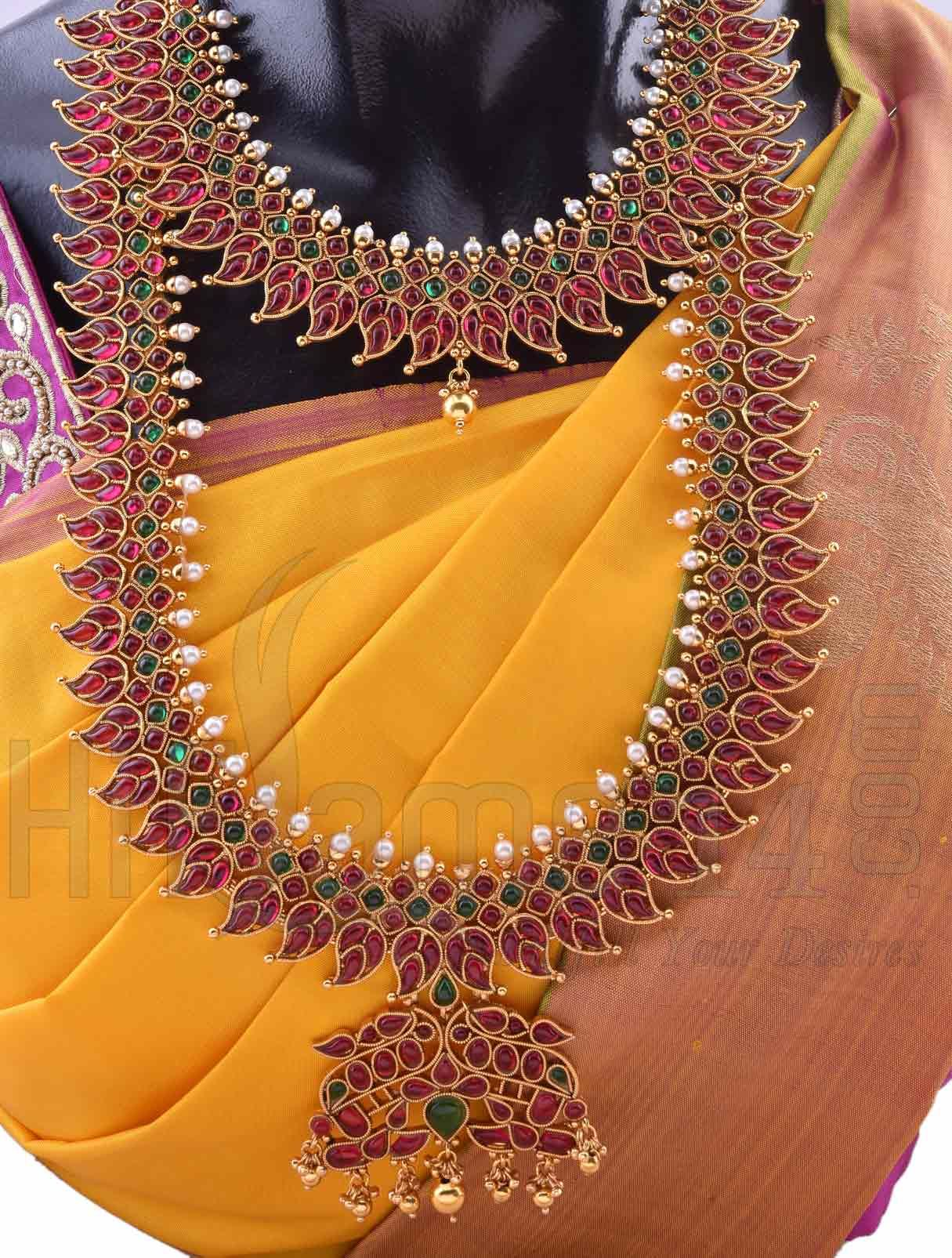 Wedding Jewellery Set Studded With Pink And Green Kemp Indian