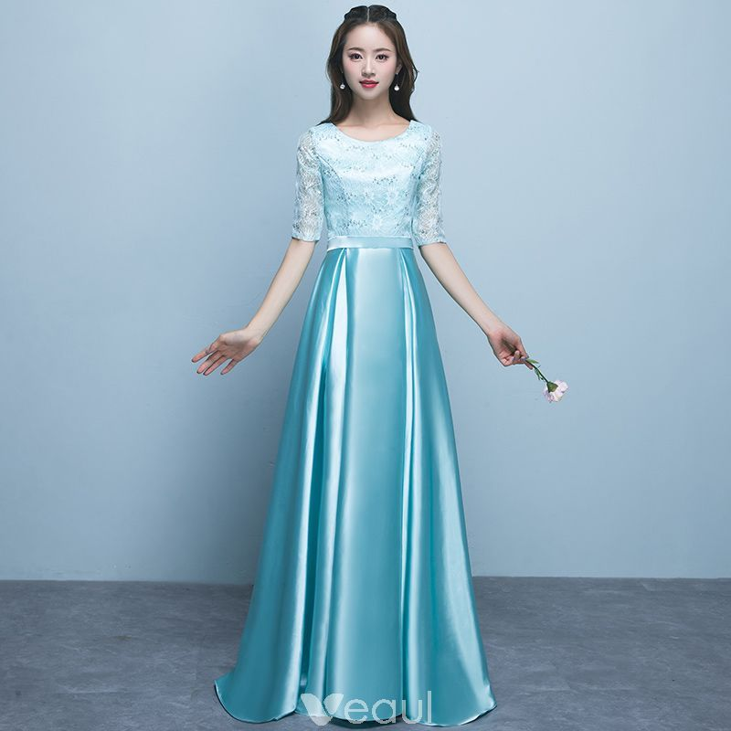 5e69498dcfb Chic   Beautiful Jade Green Bridesmaid Dresses 2018 A-Line   Princess Scoop  Neck 1 2 Sleeves Sash Sequins Floor-Length   Long Ruffle Backless Wedding  Party ...