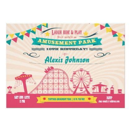Amusement Park Funfair Carnival Birthday Invite birthday cards – Invite Birthday Card