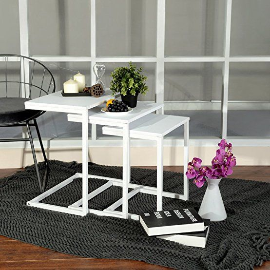 Outdoor Garden Stool with Heavy Duty Metal Frame Modern Industrial Decor Y/&M Nesting Side Table Pure White Ship from US Set of 3 Stacking Coffee Table for Living Room Indoor End Tables
