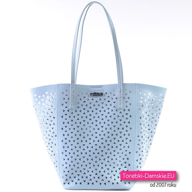 Pastelowa jasnobłękitna ażurowa torba typu shopper w zestawie z mniejszą torebką crossbody na długim pasku - 2 torebki w komplecie.