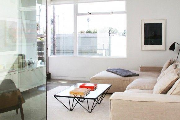 neutrals modern living room glass dining concrete art