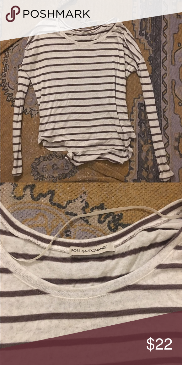 Striped long sleeve top No size tag but could fit between a small and medium. Stripes are a darker brown and the actual shirt is more of a white/gray. Actual brand is foreign exchange Brandy Melville Tops Tees - Long Sleeve