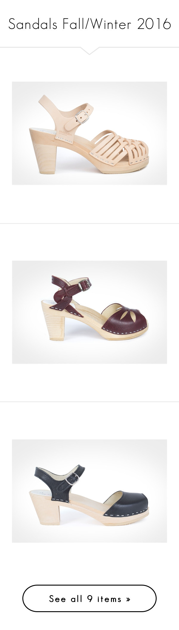 """""""Sandals Fall/Winter 2016"""" by maguba ❤ liked on Polyvore featuring shoes, genuine leather shoes, ankle wrap shoes, clogs footwear, nude shoes, woven shoes, open toe clogs, maguba, high heel clogs and high heel clogs shoes"""