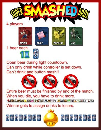 Super Smashed Bros Wii Drinking Game Drinking Games Drinking Games For Parties Smash Bros Wii