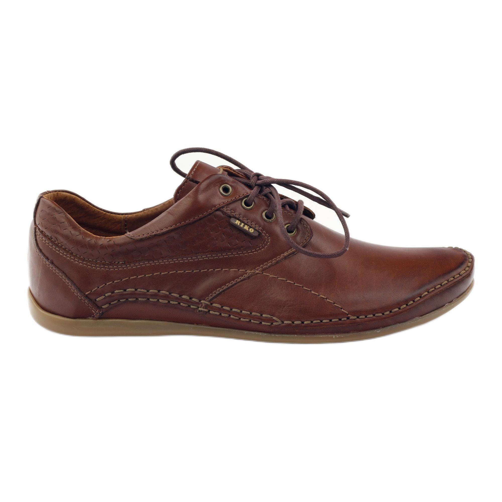 Brazowe Riko Buty Meskie Polbuty Casual 844 Mens Casual Shoes Mens Fashion Shoes Leather Shoes Men
