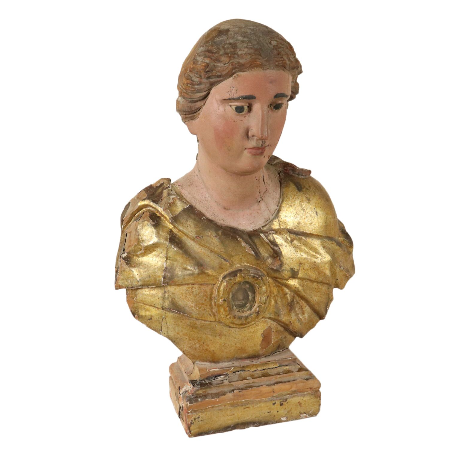 Reliquary Bust Gilded Lacquered Wood Italy Late 1600s