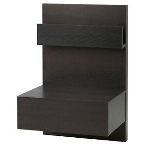 Floating Nightstand Ikea Malm Bedroom Bed Side Table Black Brown