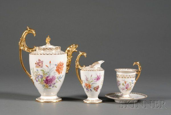 Dresden Porcelain Tea Set, Heufel & Co., late 19th century