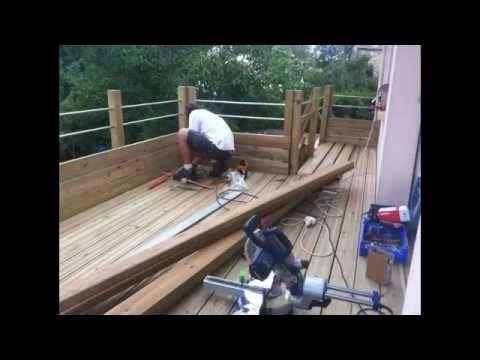 CONSTRUCTION D\u0027UNE TERRASSE EN BOIS EN HAUTEUR - YouTube Terrasse