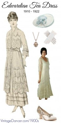 7bd774637b5e Edwardain Tea Dress Costume Guide. White lace dress, lace goves, white  shoes, garden hat, and jewelry. Shop these and more at  VintageDancer.com/1900s