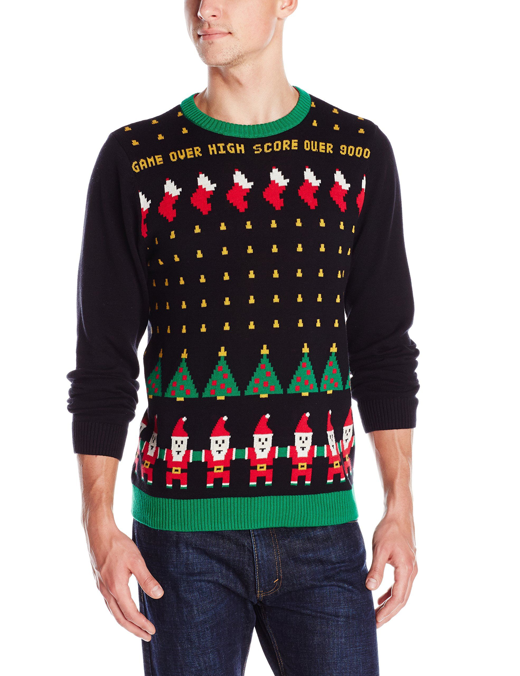 Alex Stevens Mens Santa Invaders Ugly Christmas Sweater, Black Combo,