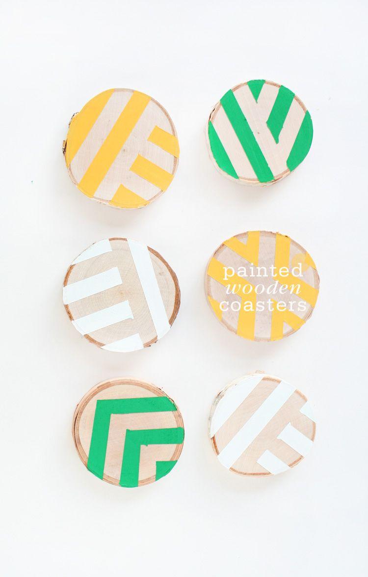 DIY Painted Wooden Coasters