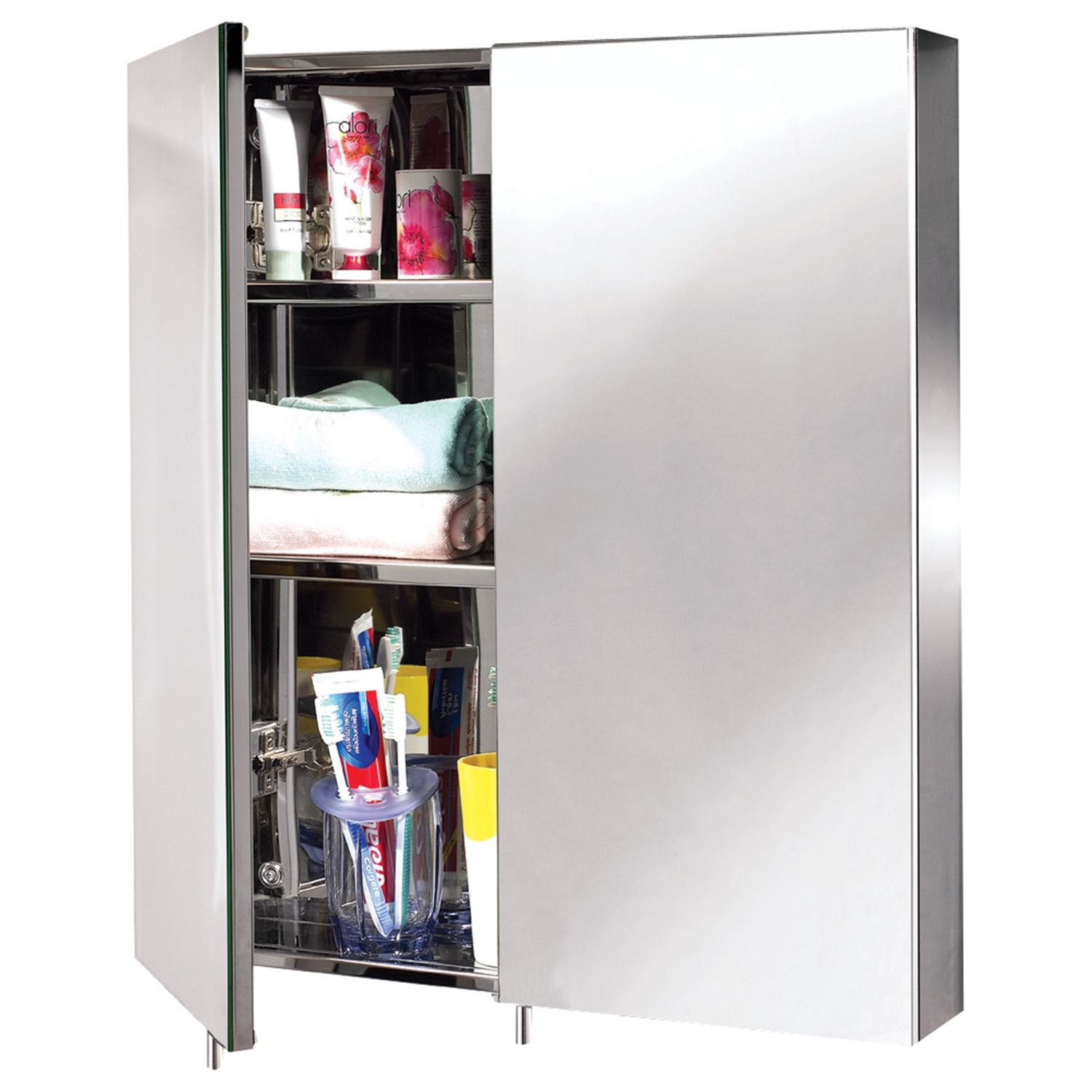 2 Door Mirrored Cabinet Stainless Steel 60x67x12: Two door bathroom ...