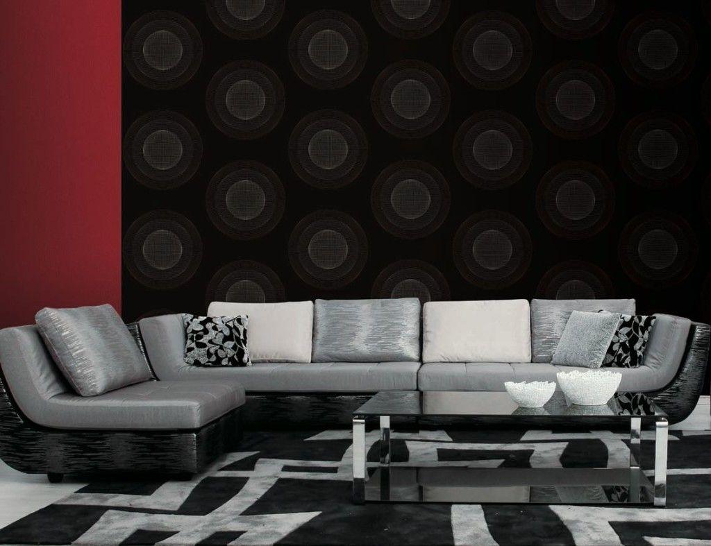 Luxuri se schwarze tapete mit rundem muster luxurious for Schwarze tapete