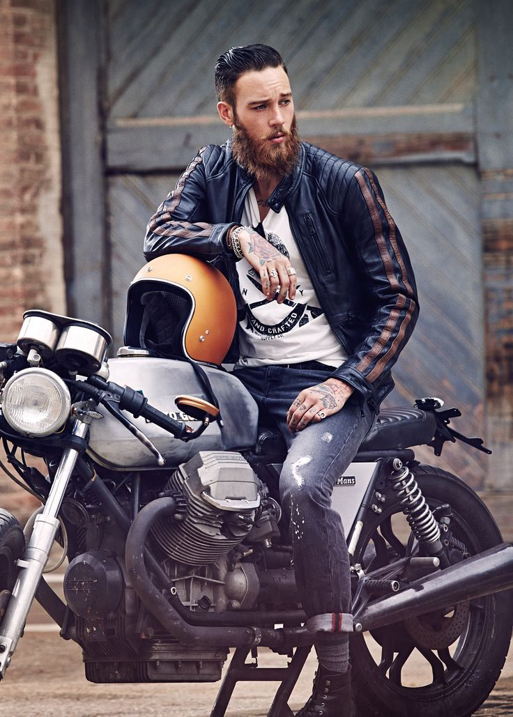 Casual Well Dressed Motorcycle Fashion Men Cafe Racer Style Biker Photoshoot