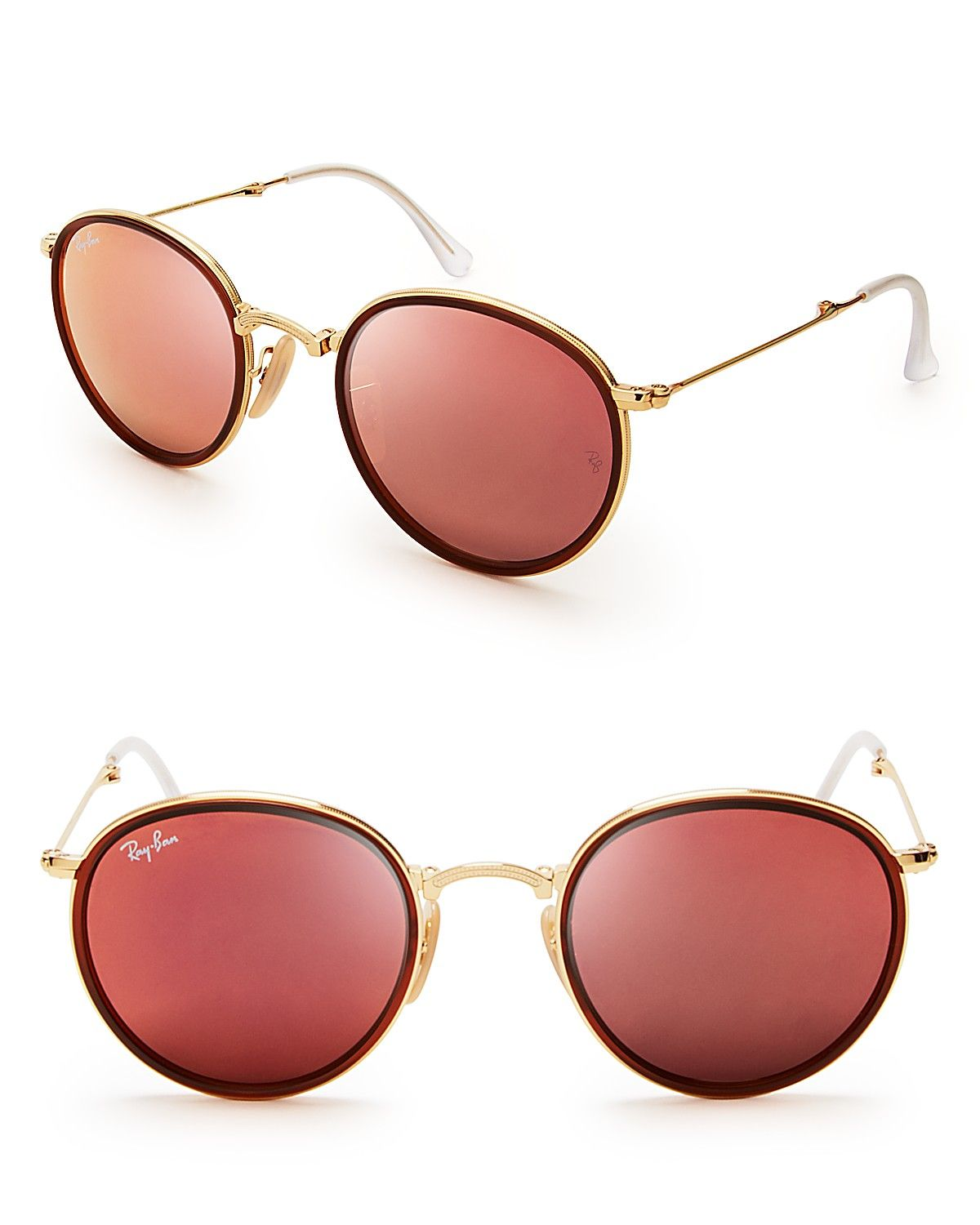 Ray-Ban Foldable Round Mirrored Sunglasses   Bloomingdale s ... cdb99c36a514