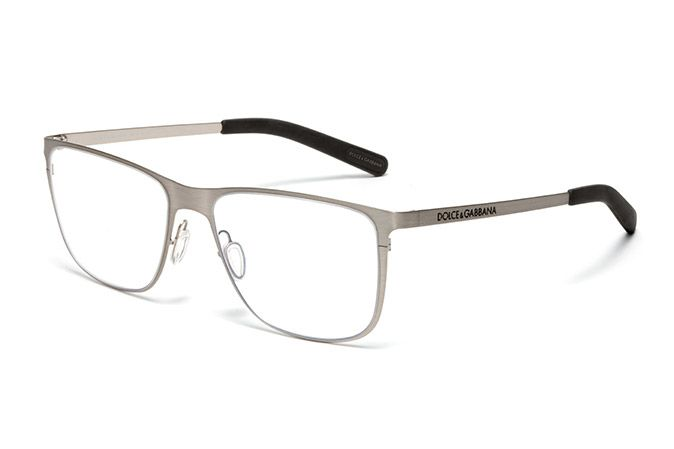 9cbea6765571 Men s silver metal and rubber eyeglasses with squared frame by Dolce    Gabbana dg1254