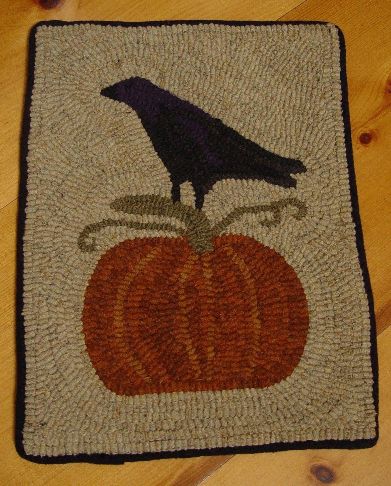 Primitive Hand Hooked Rug Crow On Pumpkin