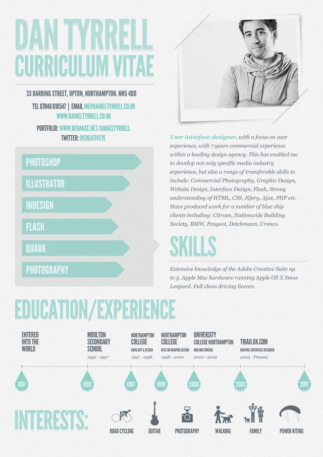 Infographic Cv By Daniel Tyrrell Great Minimal Style Most Creative Resumes Cv Original Modele De Cv Design Cv Inspiration