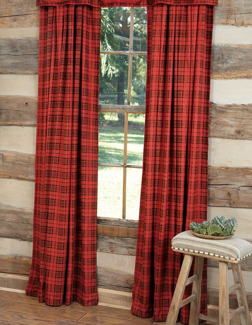 Red Plaid Drapes Adirondack Lake House Pinterest Red