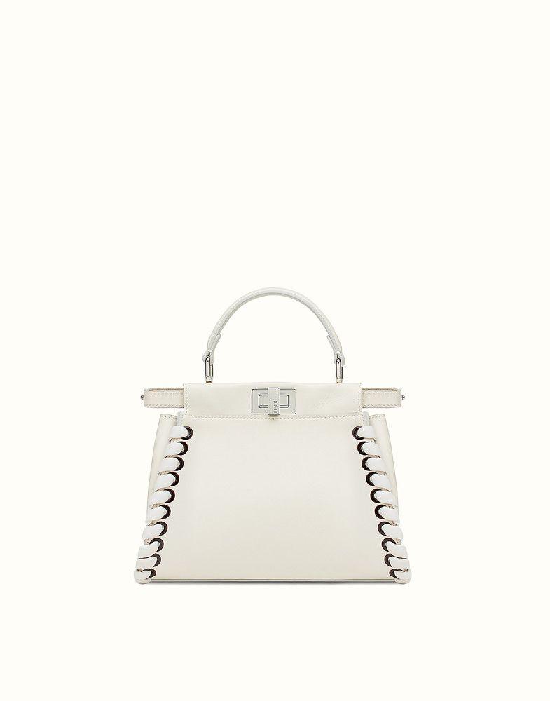 3cba9476f828 FENDI PEEKABOO MINI - White nappa handbag with weaving - view 1 detail