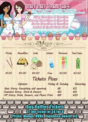 Hurry and buy your tickets in advance to save; today is the last day! Sat 2 hour: https://www.eventbrite.com/e/may-mays-maid-cafe-omni-expo-t… Friday-Sunday 1 hour: https://www.eventbrite.com/e/may-mays-maid-cafe-omni-expo-t…