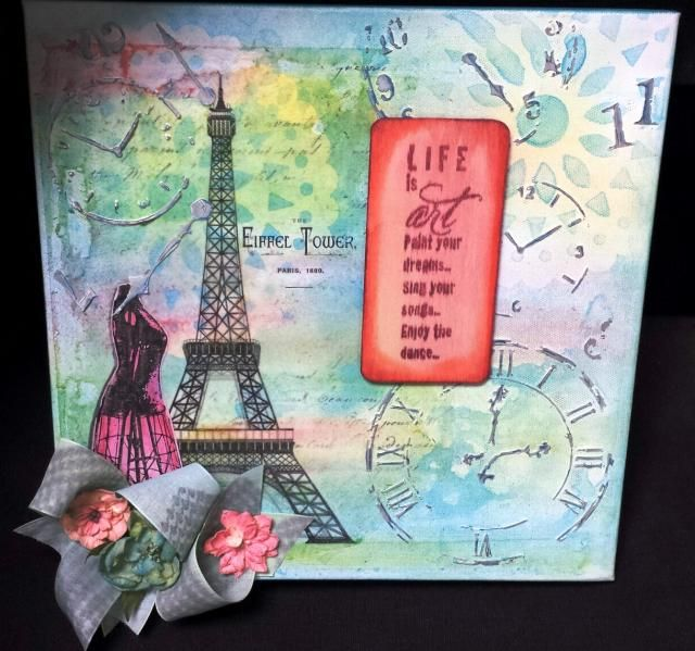 Photo Scraps: April 4, 2014 - Eiffel Tower Canvas with Tammi