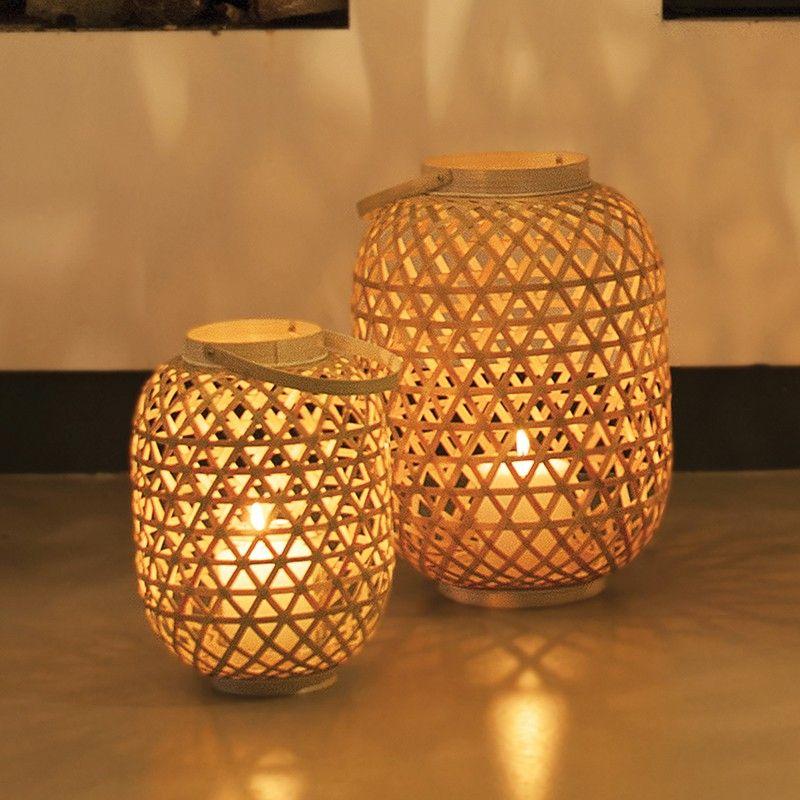 Edit Bamboo Large Lattice Lantern - Natural - Lighting Direct - solarleuchten garten antik