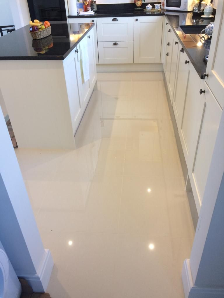 White Polished Porcelain Floor Tiles Kitchen