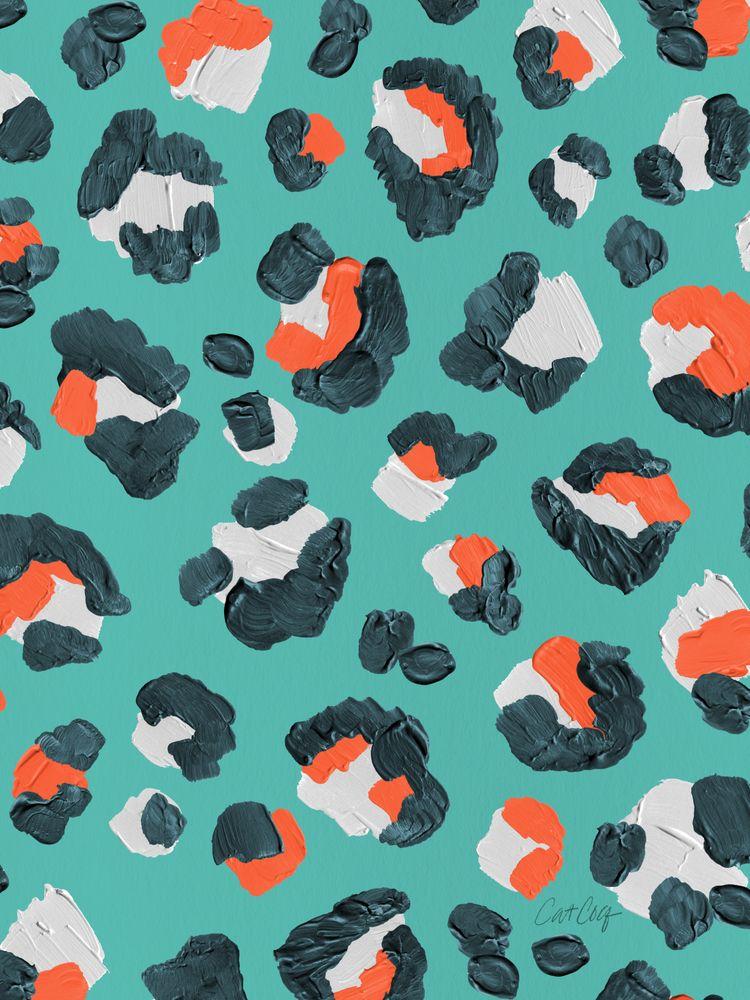 Leopard Print – Tangerine & Turquoise Palette Art