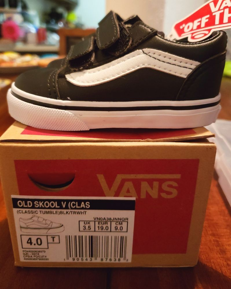 ba6dc51537e Vans Old Skool V Toddler Size Classic Tumble Black True White VN0A38JNNQR  Shoes  fashion
