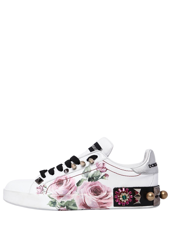 80ad3c2943 DOLCE & GABBANA 20MM PORTOFINO FLORAL LEATHER SNEAKERS. #dolcegabbana #shoes  #