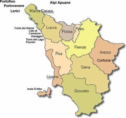 Map of Tuscany showing its 10 provinces | Tuscany map ...