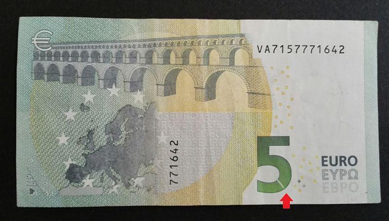 Fehldruck 5 Euro Schein Banknote Ruckseite Wertziffer Mit