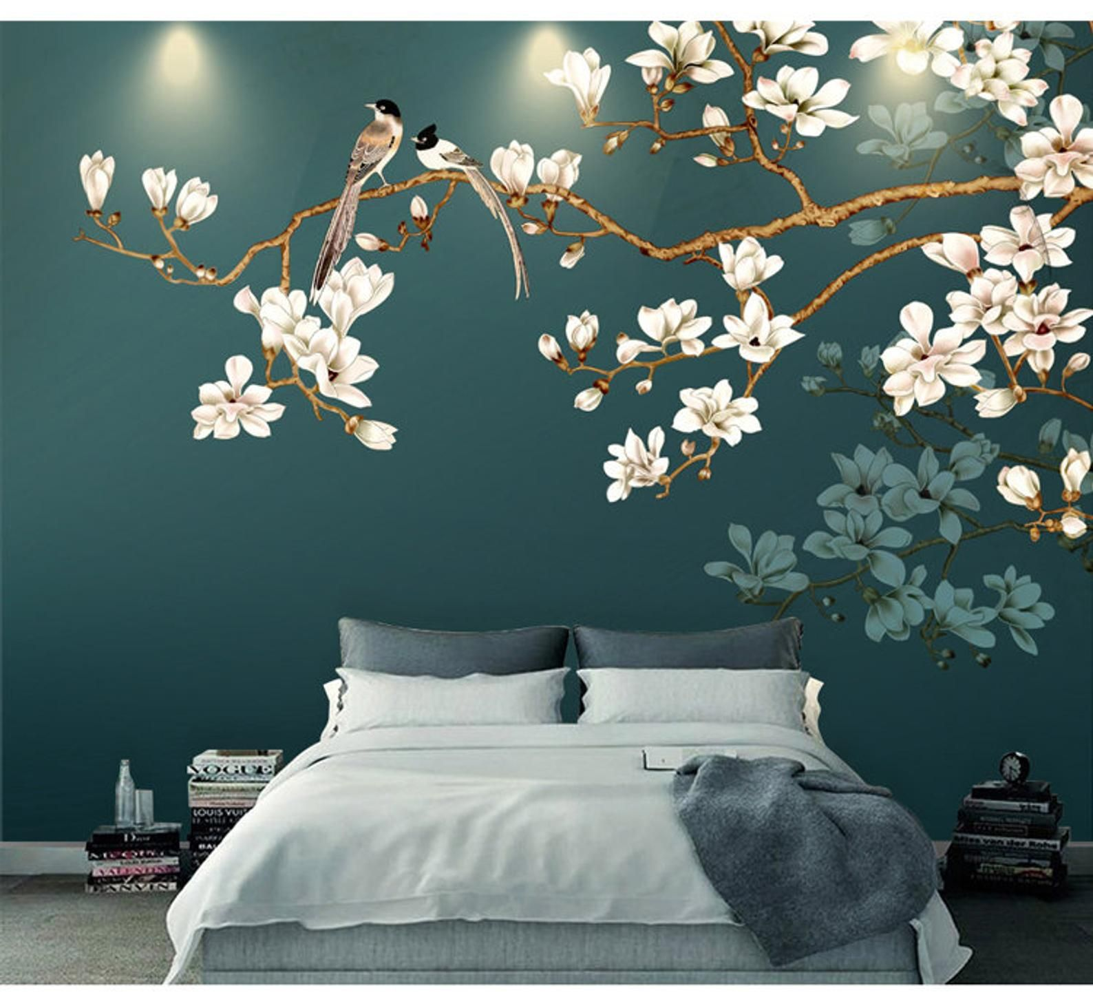 Hand Painting Hanging Branch Tree Flowers And Birds Wallpaper Wall Mural Simple Elegant White Ivory Flowers Floral Wall Mural Wall Art Bedroom Wall Paint Mural Wall Art Wall Paint Designs