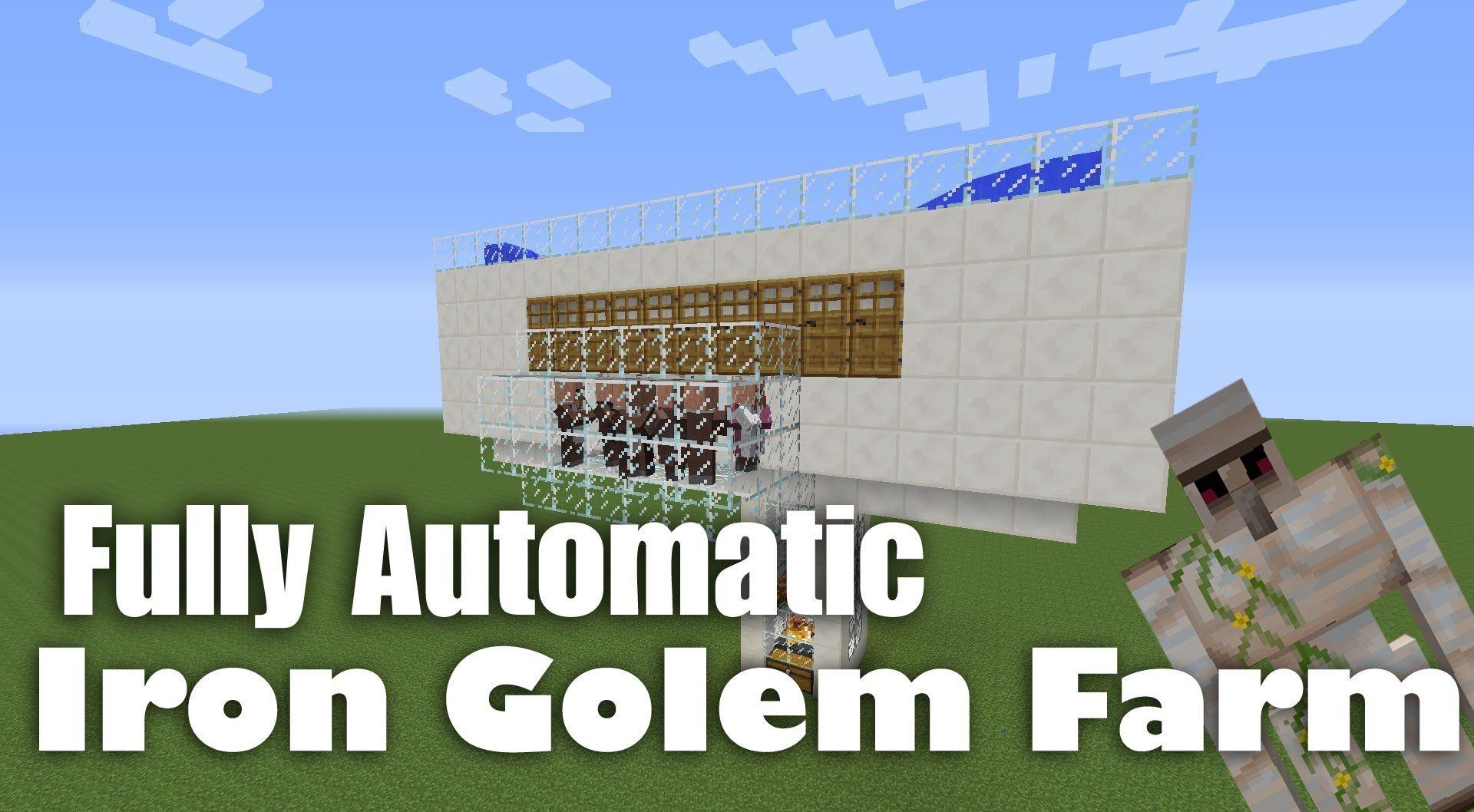 fully automatic iron golem farm tutorial minecraft 1 8