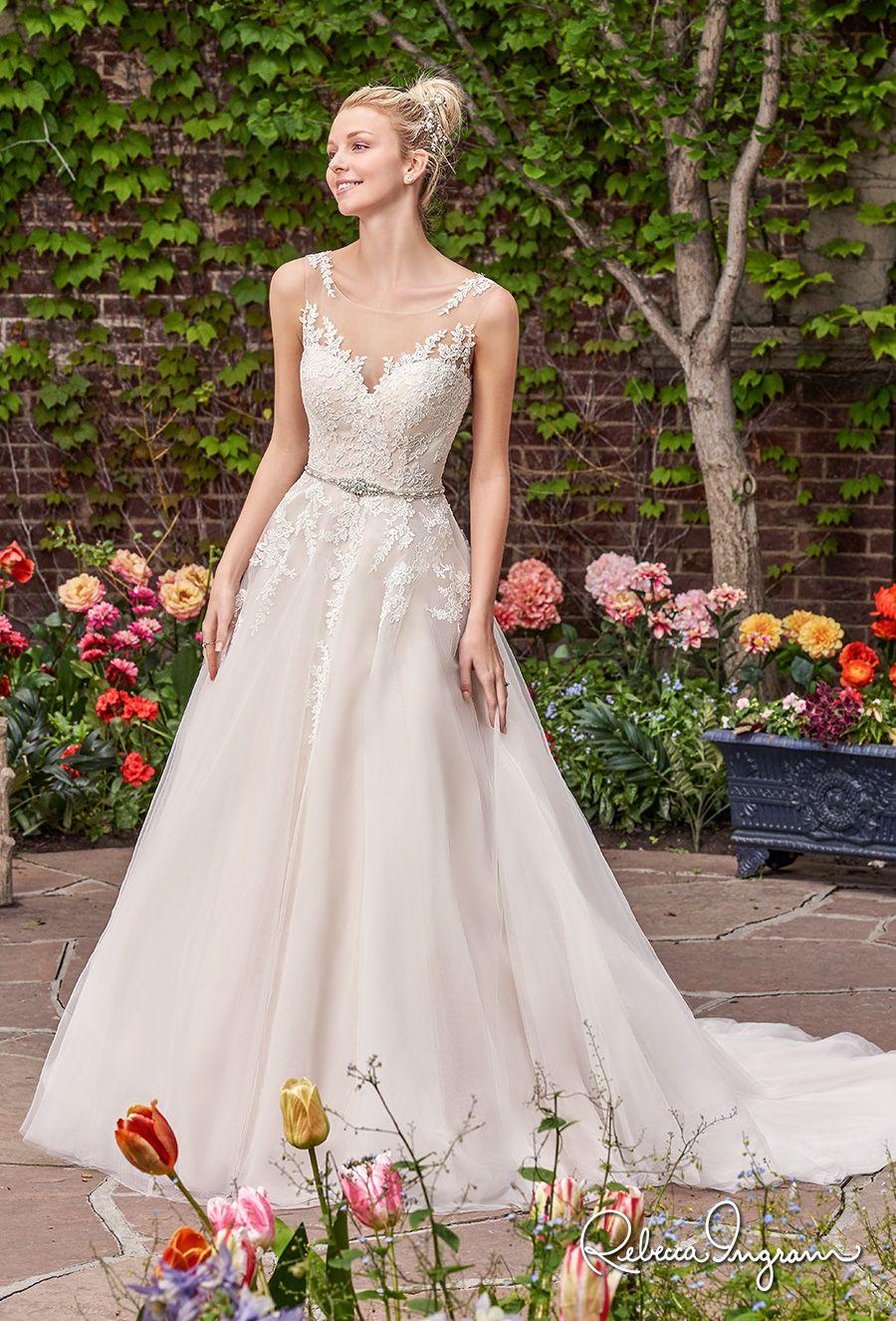 Illusion lace wedding dress  Rebecca Ingram  Bridal Collection u Gorgeous Wedding Dresses