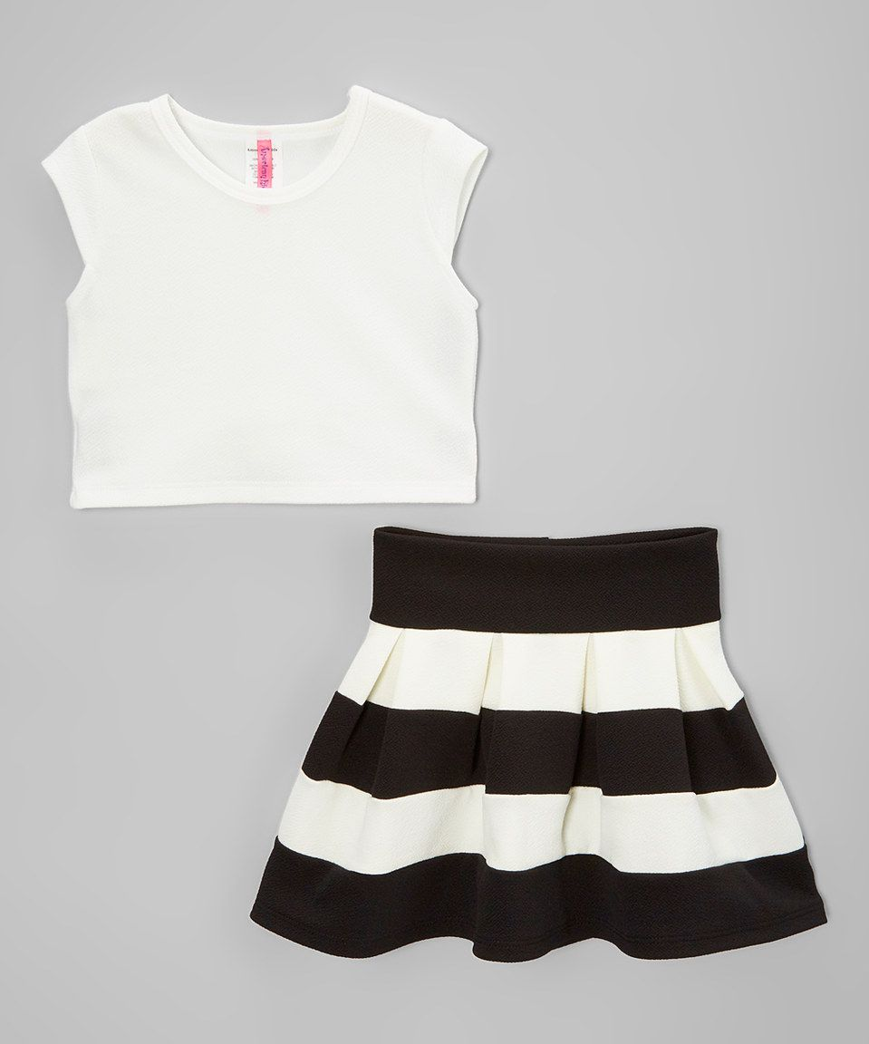 5bdfa49477 Another great find on  zulily! American Kids Off-White   Black Crop Top    High-Waist Skirt - Toddler   Girls by American Kids  zulilyfinds