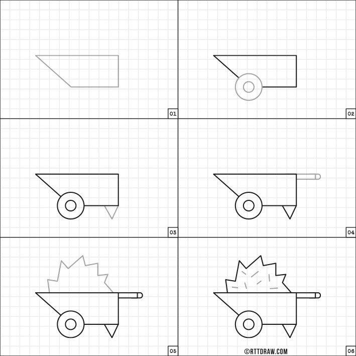 pic How To Draw A Simple Wheelbarrow how to draw a wheel barrow