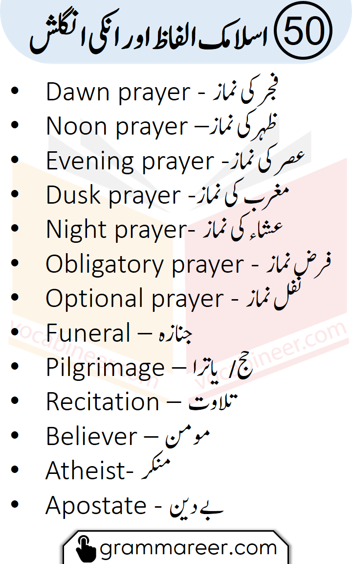 50 Islamic Vocabulary Words with their Urdu Meanin