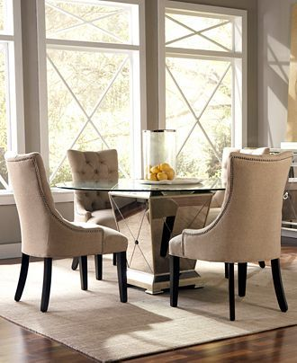Marais Dining Room Furniture 5 Piece Set 54 Mirrored Table And 4 Side Chairs Macy S