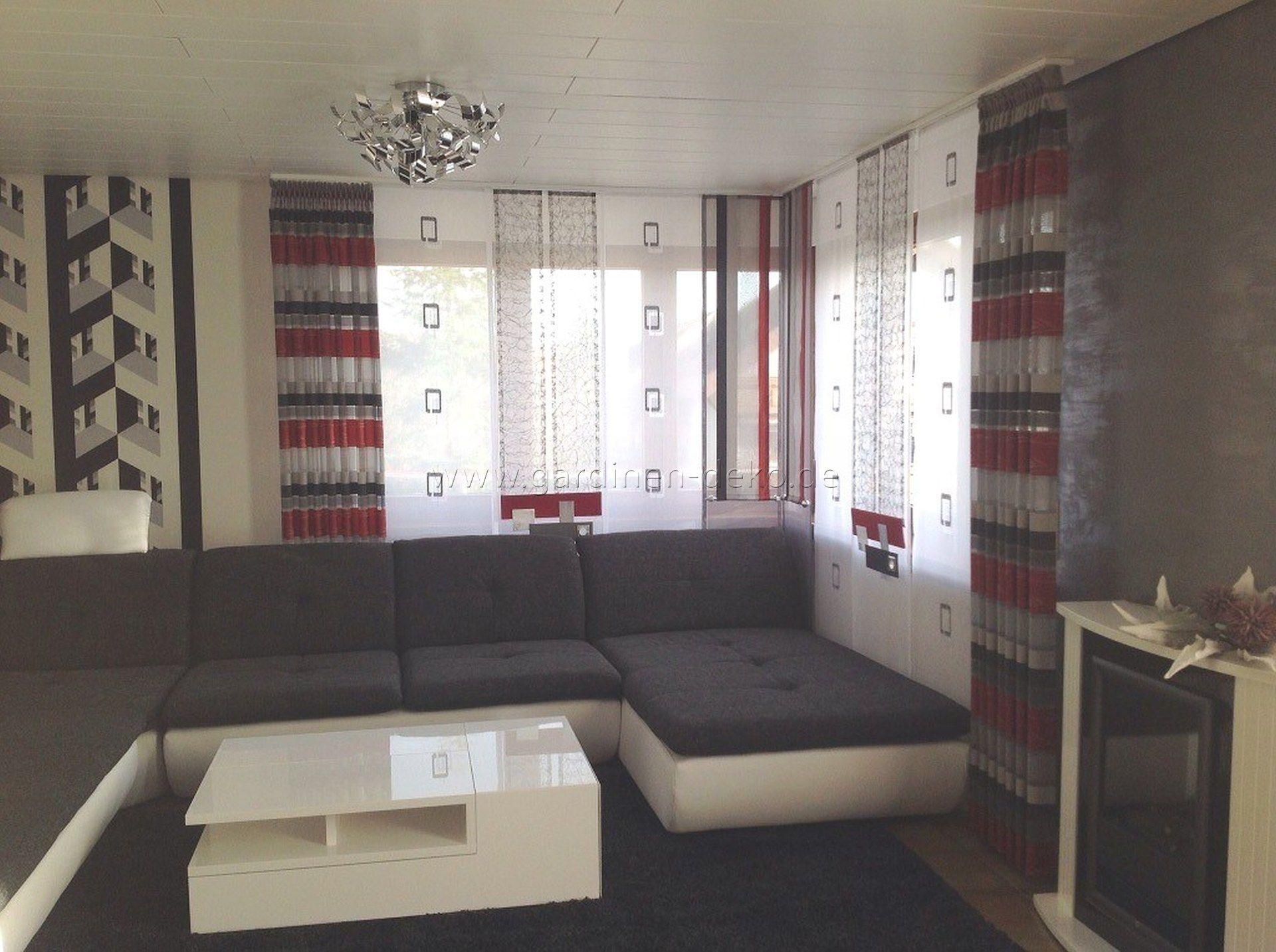 wohnzimmer schiebegardine mit edlen seitenschals und geometrischen, Wohnzimmer dekoo