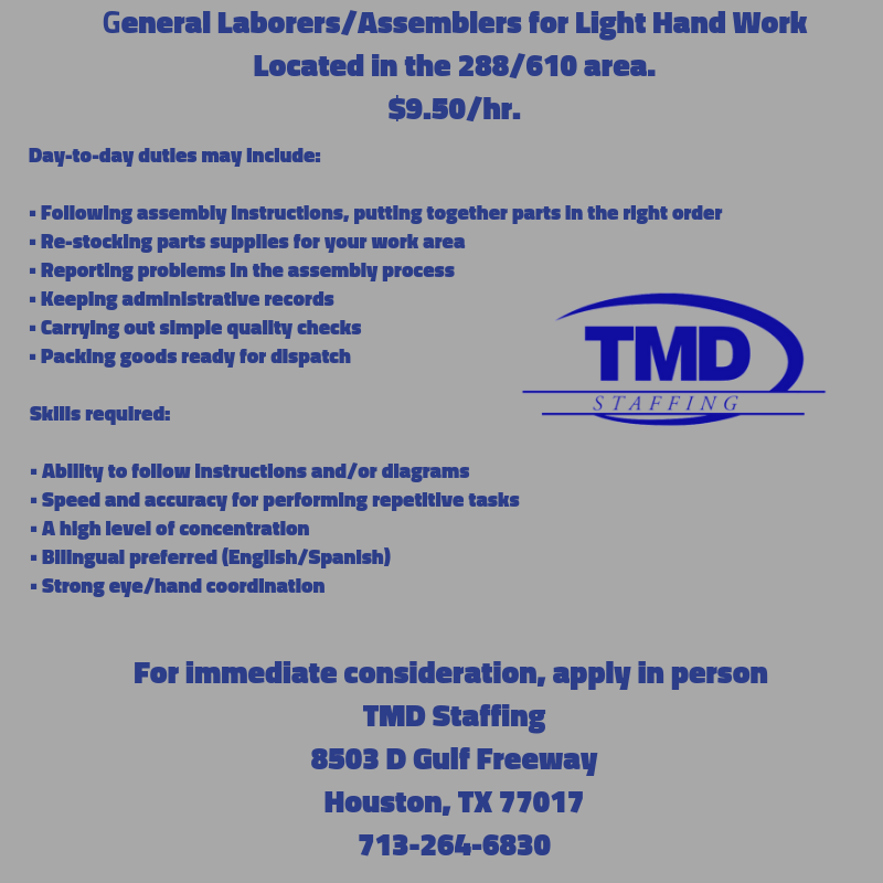 South Houston, TMD has Jobs! Working area, Job, South