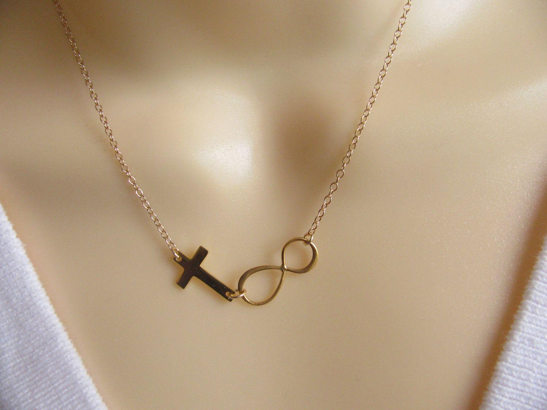 Infinity Necklace Goldinfinity Lovesideways Cross Necklace