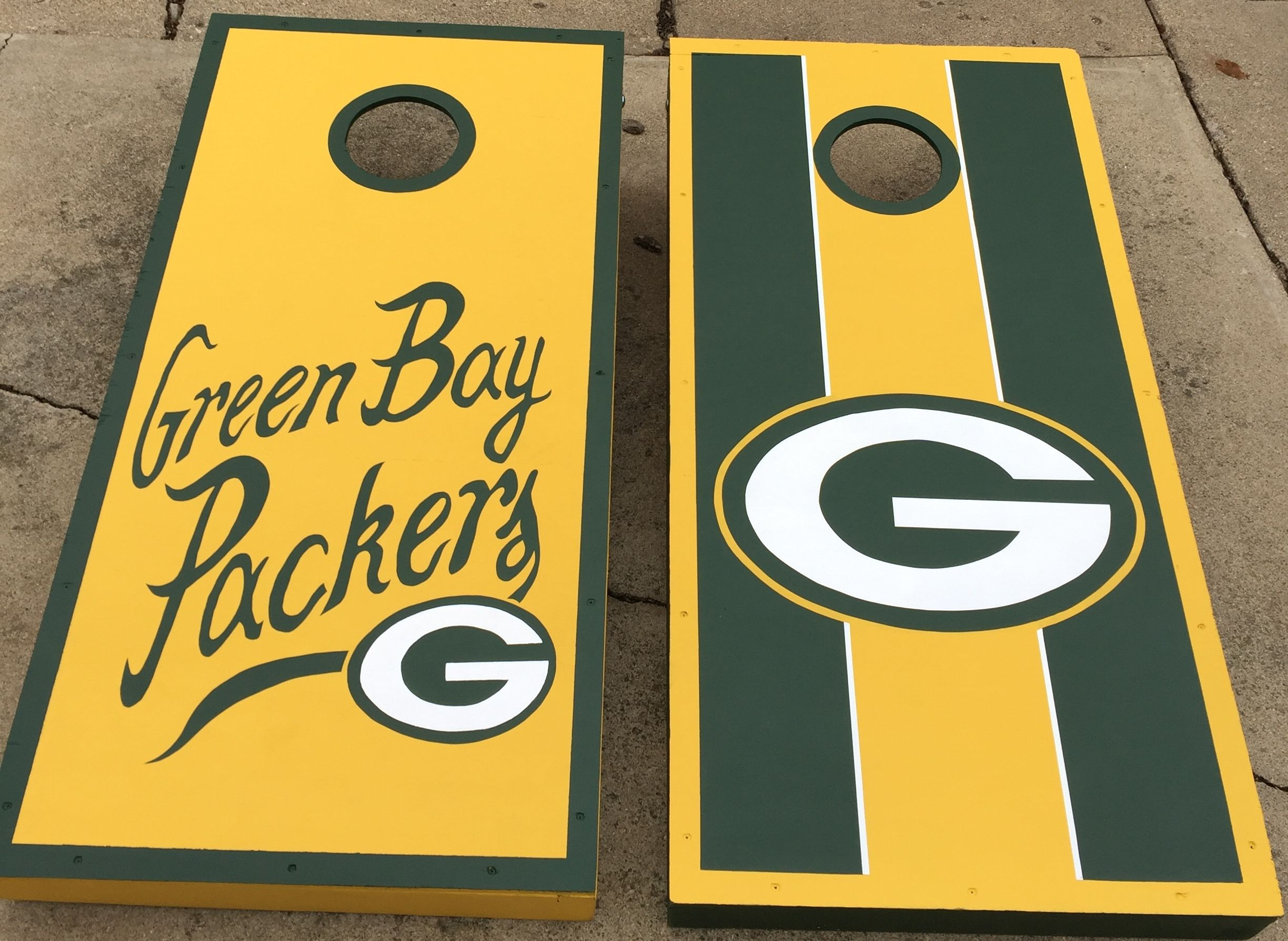 Hand Painted Green Bay Packers Cornhole Boards Green Bay Packers Crafts Green Bay Packers Diy Green Bay