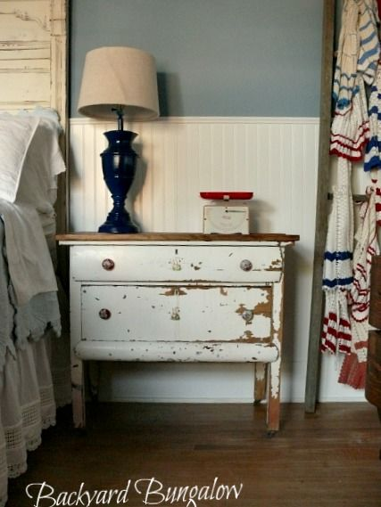 Perfectly chippy little dresser shared by The Backyard Bungalow at the Knick of Time Tuesday Party.