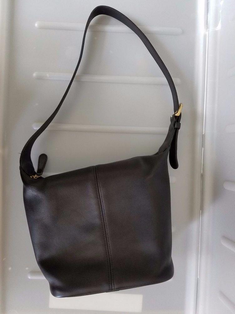 Vintage Coach Shoulder Bag J7h 4148 Leather Black Hobo Style Handbag Shoulderbag
