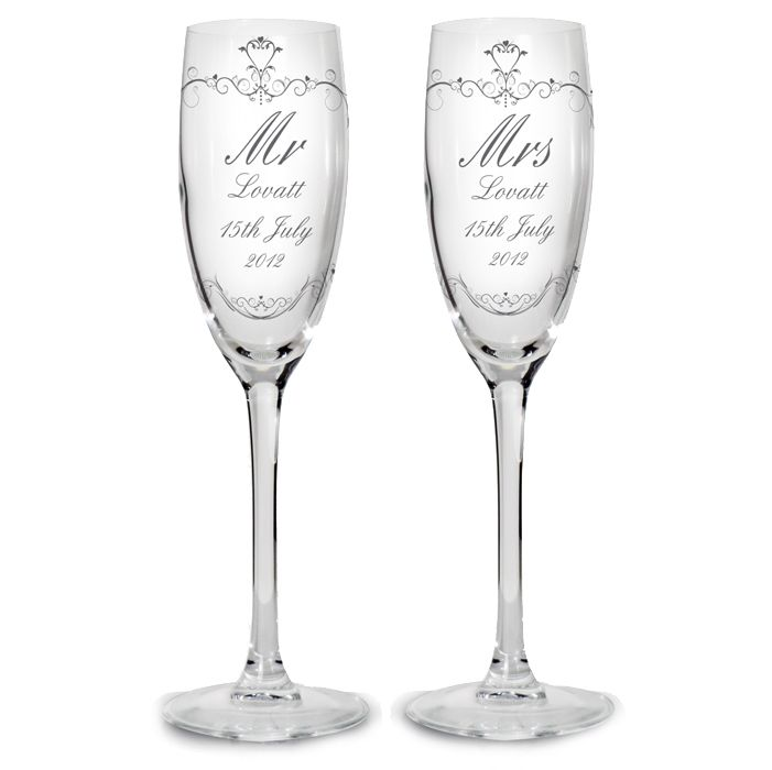Personalised Wedding Champagne Flutes With Ornate Swirl Design