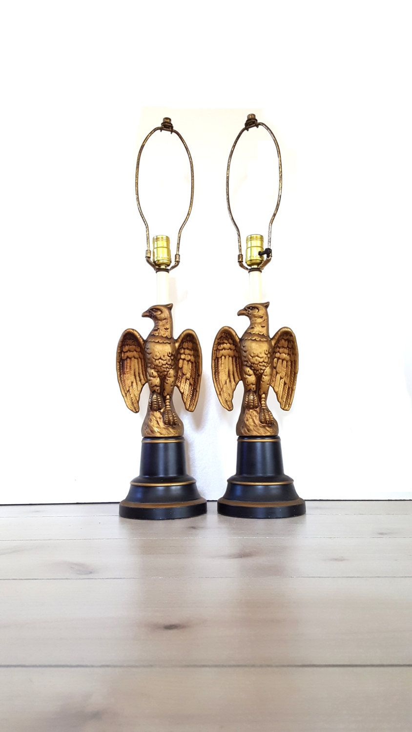 Pair Eagle Lamps Black And Gold American Bald Eagle Table Lamps Federal Eagle Americana Patriotic Decor Vintage Black Lamps American Bald Eagle Gold